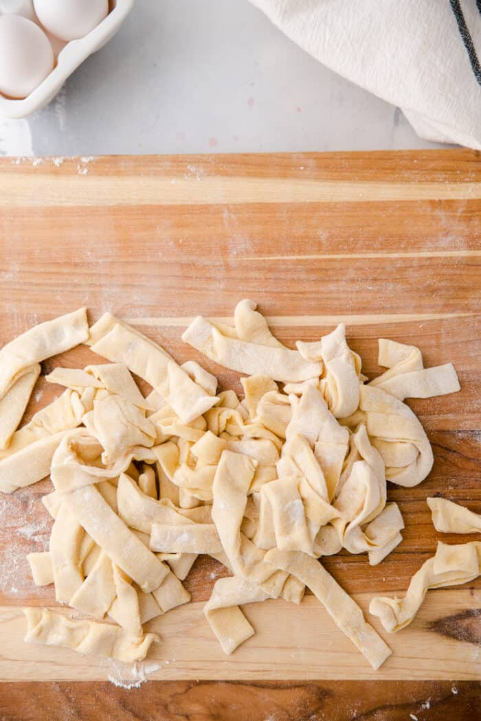 homemade pasta cut into strips