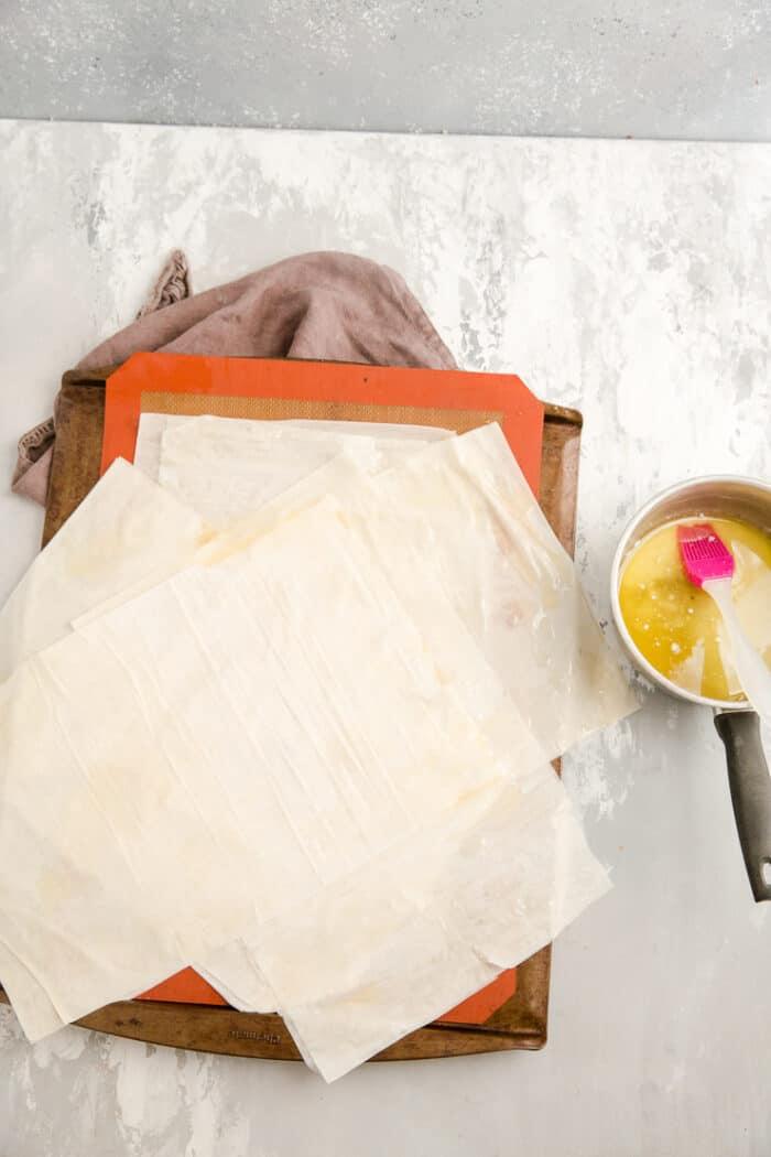 phyllo dough arranged for spanakopita