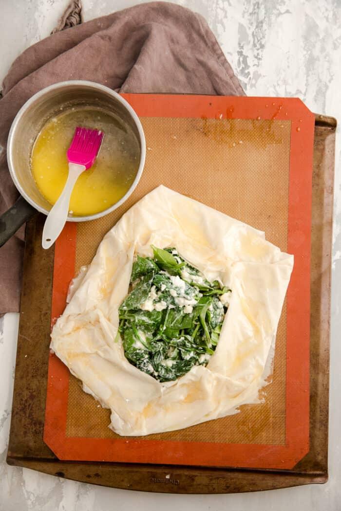 spanakopita filling on dough