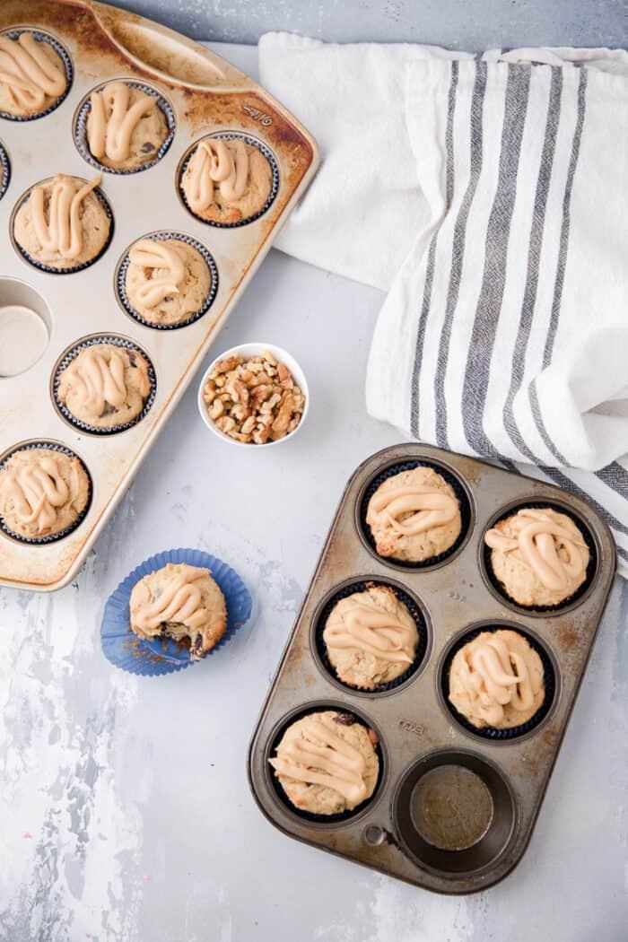 trays of banana muffins