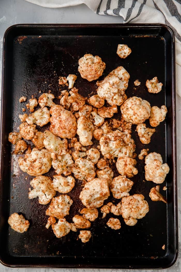 roasted cauliflower on a baking sheet
