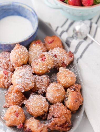 fritters on a gray plate