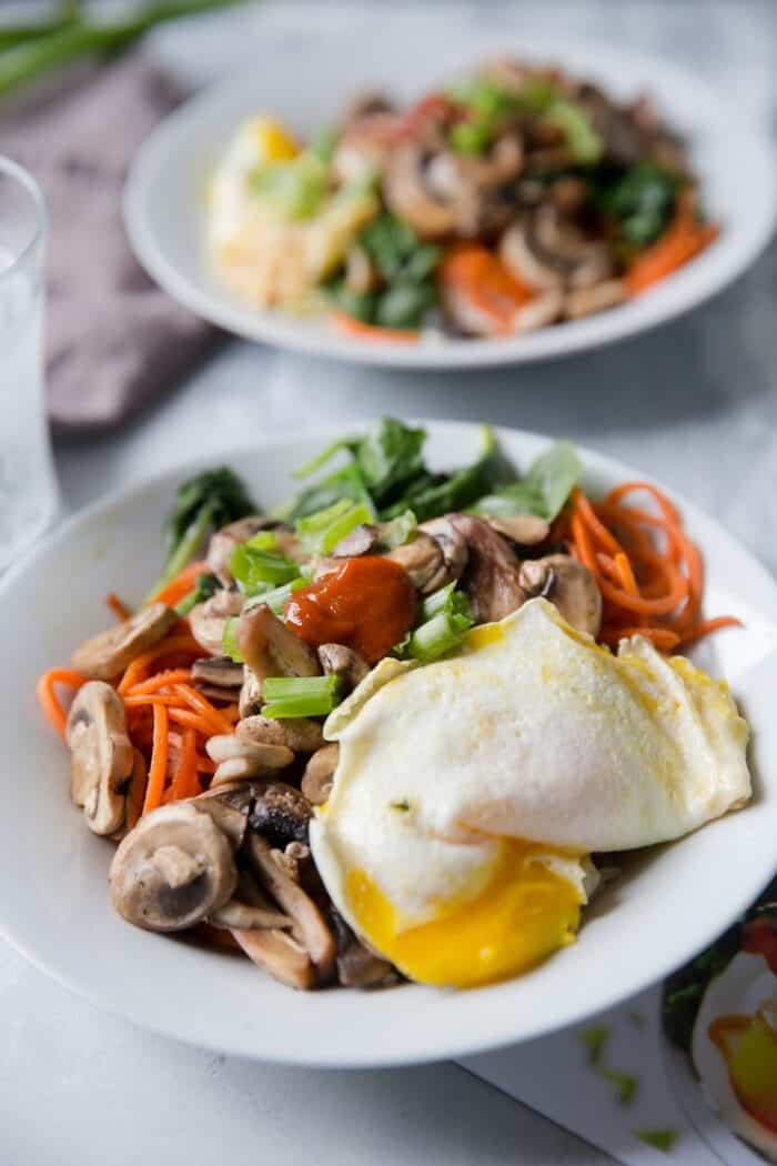 bibimbap bowl with egg on top