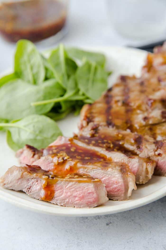 sliced beef terikaki with a drizzle of sauce
