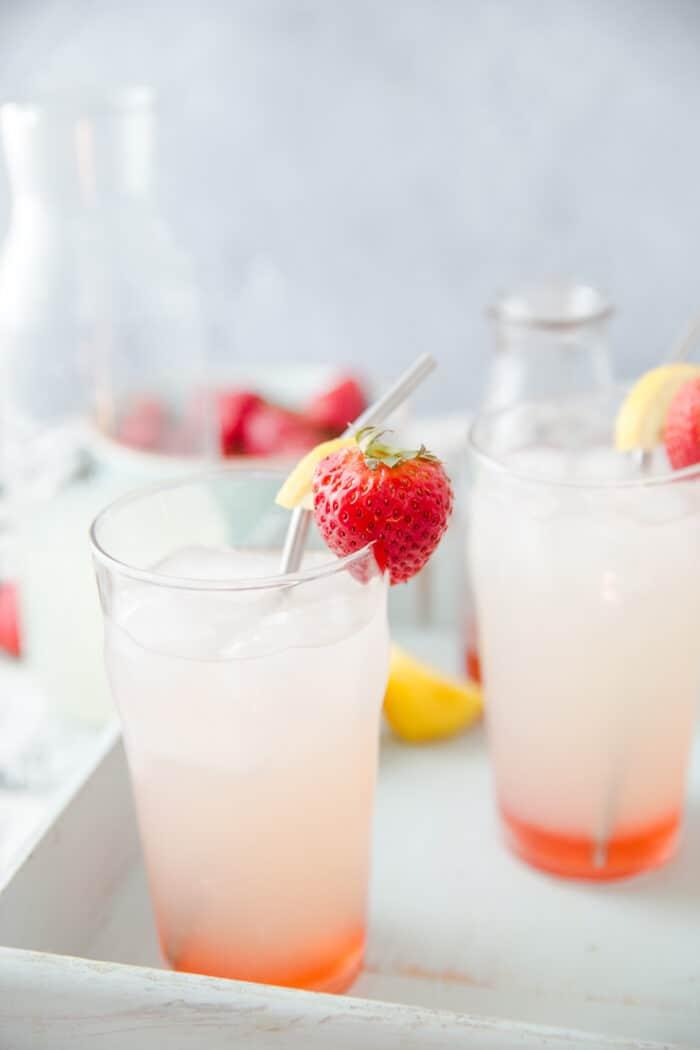 strawberry vodka lemonade two glasses
