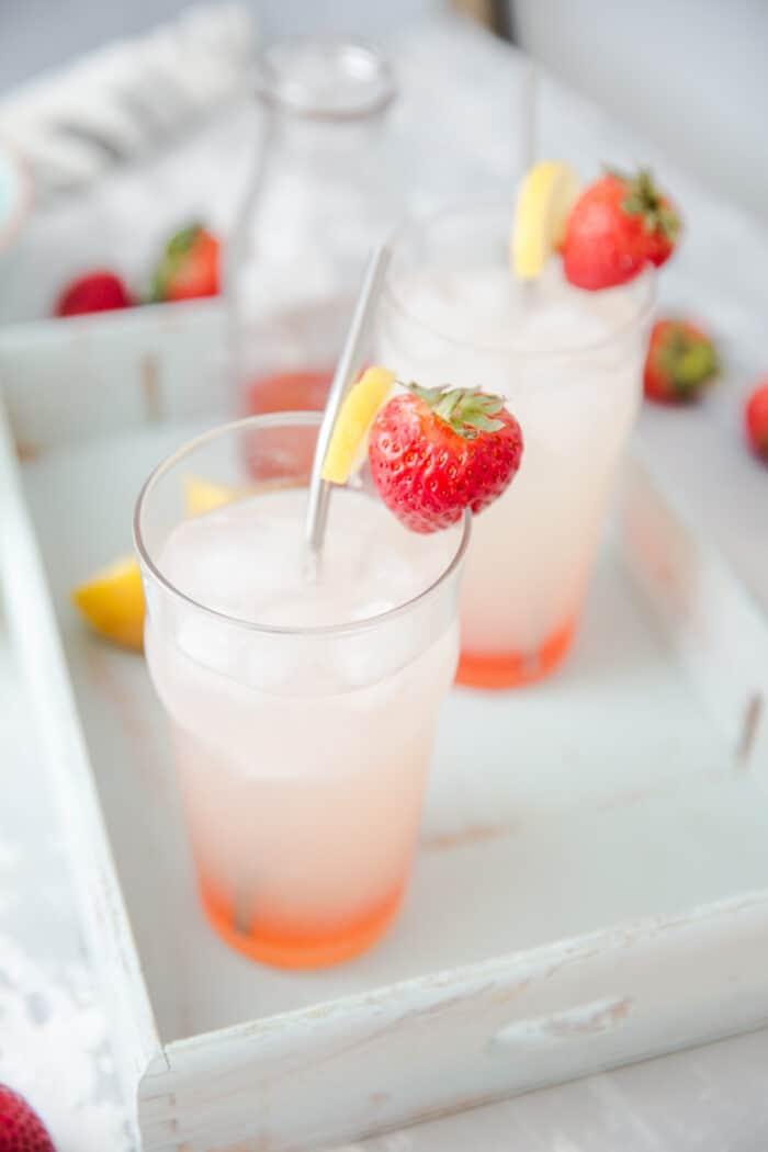 strawberry vodka lemonade with metal straws