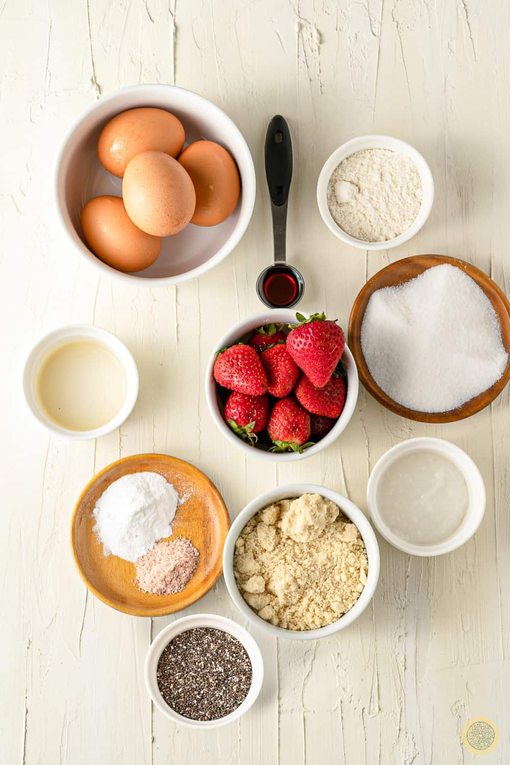 ingredients for almond flour cake with strawberry and raw jam