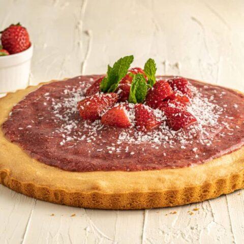 Almond Flour Cake With Raw Strawberry Jam