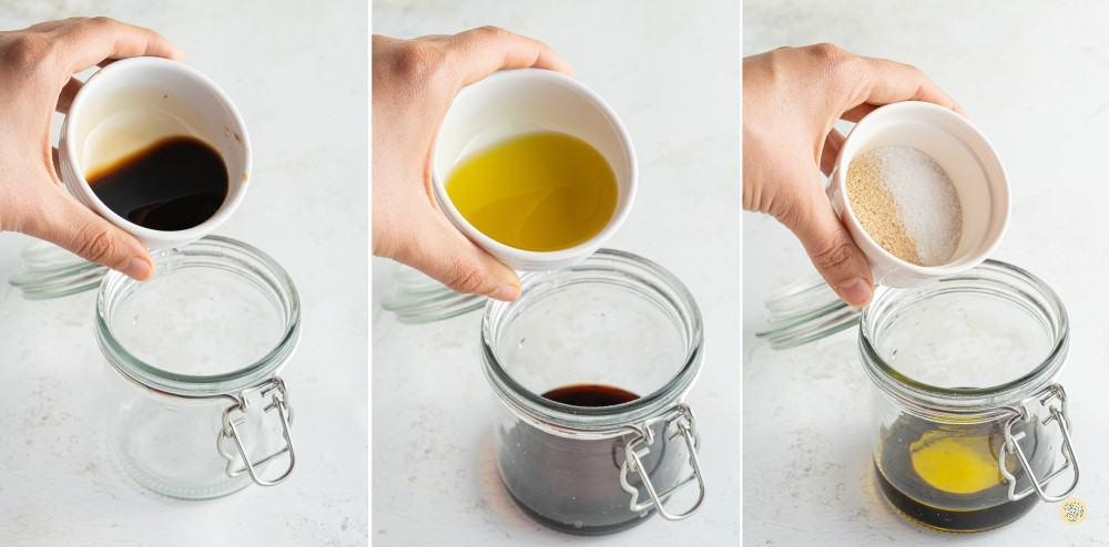 Mix olive oil with balsamic vinegar, garlic powder, and salt