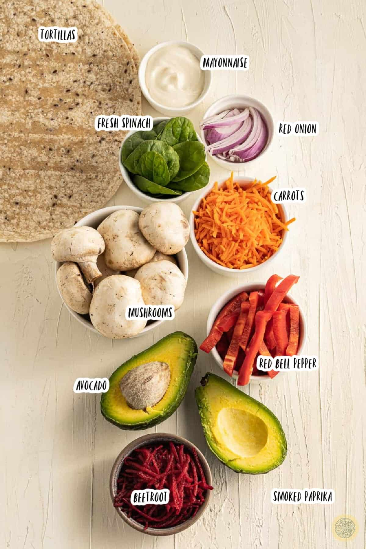 Ingredients you'll need for a vegan wrap