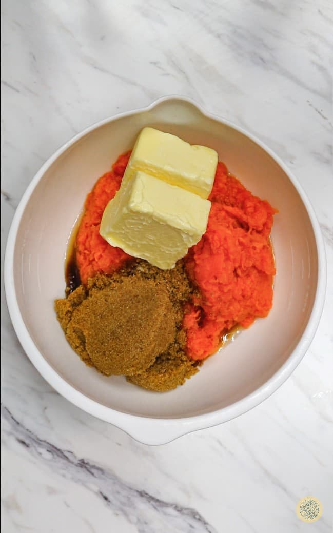 mashed sweet potatoes, brown sugar, and butter