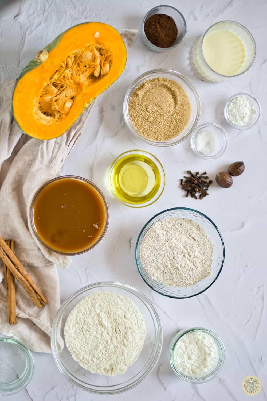 Ingredients for the Salted Caramel Pumpkin Pie